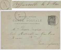 MANCHE ENTIER CP SAGE 10C 1900 JUVIGNY LE TERTRE T84 + BOITE RURALE A = REFFUVEILLE - 1877-1920: Semi Modern Period