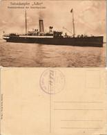 "Seebäderdienst Der Amerika-Linie Salondampfer ""Adler"" Gel. Bordstempel 1913 - Steamers"