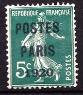 "Préo 24 - 5c Vert Semeuse ""POSTES PARIS 1920""  - FAUX - Neuf N* - Très Beau - 1893-1947"