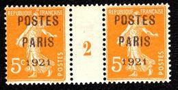 """Préo 27 - 5c Orange Semeuse """"POSTES PARIS 1921"""" - Paire Millésime 2 - FAUX - Neuf N** - Très Beau - 1893-1947"""