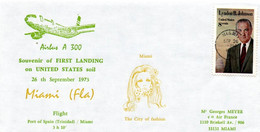 Miami Trinidad Port-of-Spain 1973 - Première Visite Airbus A 300  - Vol Démonstration - Erstflug First Flight Vuelo - 3c. 1961-... Cartas