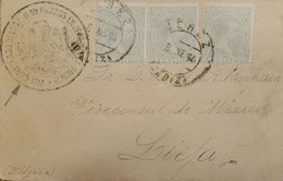 A) 1894, SPAIN, FROM CADIZ TO BELGIUM, CANCELLATION VICECONSUL DE MEXICO, KING ALFONSO XIII STAMPS - Cartas