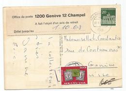 HELVETIA TAXE 20C GENEVE 1968 CARTE GERMANY 20C MANNHEIM + ETIQUETTE OFFICE DE POST GENEVE CHAMPEL - Strafportzegels