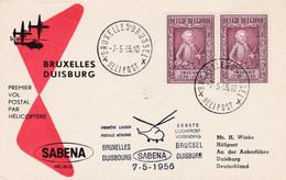 Enveloppe Paire 988 Sabena 1er Vol Postal Par Hélicoptère Bruxelles Duisburg Duisbourg Helipost - Cartas