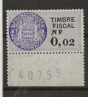 TIMBRES FISCAUX DE MONACO SERIE UNIFIEE N° 21  0NF02 VIOLET GRIS - Fiscaux
