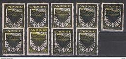EGEO - RODI:  1934  P.A. ALA  STILIZZATA  -  50 C. NERO  E  OCRA  US. -  RIPETUTO  9  VAL. -  SASS. 30 + 30 A + 30/I - Egée (Rodi)