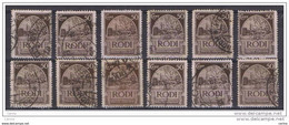EGEO - RODI:  1932  PITTORICA  -  50 C. BRUNO  SCURO  US. -  RIPETUTO  12  VOLTE  -  D. 14  -  SASS. 61 - Egée (Rodi)