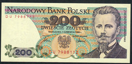POLAND P144c 200 ZLOTYCH 1986 #DU UNC. - Poland