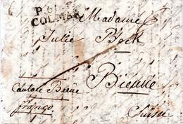 FRANCE / MARQUE POSTALE DE COLMAR EN PORT PAYE A DESTINATION DE BIENNE SUISSE DE 1828 - 1801-1848: Precursores XIX