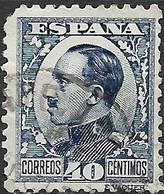 SPAIN 1930  Alfonso XIII - 40c - Blue FU - Oblitérés