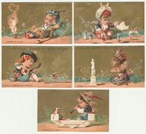 LOT DE 5 CHROMOS DOREES   Chocolat GUERIN - BOUTRON  L'amour En Chine Italie Turquie Afrique Espagne - Guerin Boutron