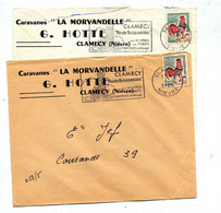 Lettre Flamme Clamecy Route Buissonniere Entete Caravane Morvandelle - Oblitérations Mécaniques (flammes)