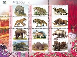 Moldova 2020, Prehistoric Fauna, Animals, Sheetlet Of 12v - Moldavië