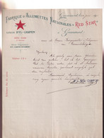 GRAMMONT 1911  FABRIQUE D'ALLUMETTES NATIONALES ,, RED STAR,, LOUIS BYL - CAMPEM - Other