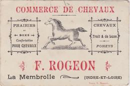 37 - LA MEMBROLLE  MARCHAND DE CHEVAUX Carte De Visite Publicitaire  F. Rogeon - Zonder Classificatie