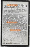 Oorlog Guerre Frans Lambrecht Nieuwmunster Soldaat Chasseur à Cheval Gesneuveld Te Leisele April 1915 Devos Lanciers - Devotieprenten