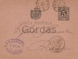 Romania - Bucuresti - 1893 - Advertise - Reclama Lorenty - Stationery 5 Bani - Briefe U. Dokumente