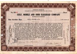 Gulf, Mobile And Ohio Railroad Company - Certificat Temporaire De 15 Actions En 1940. - Ferrocarril & Tranvías