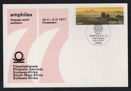 1977 SWA South West Africa Post Card Amphilex 77Amsterdam 7 Exhibition With SWA Postmark & 15c Namib Stamp - Sin Clasificación
