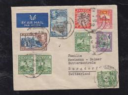 Ceylon 1950 Airmail Cover To BURGDORF Switzerland - Sri Lanka (Ceilán) (1948-...)
