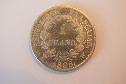 1 Franc  1808 W , Napoléon 1er , Tête Laurée , République Française - H. 1 Franco