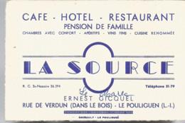 F15 Cpa  /  Carte Publicitaire Restaurant HOTEL La SOURCE LE POULIGEN - Le Pouliguen