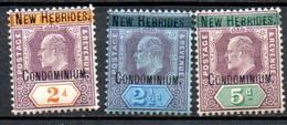 Nouvelles Hebrides : Yvert N°7/9* - Unused Stamps