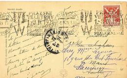 Tchécoslovaquie Yvert 174 O Sur Carte Postale - Flamme Temporaire Du 6.9.1921 : Foire De Prague 1 Au 8.9.1921 - Briefe U. Dokumente
