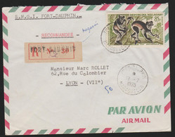 Madagascar 1965 Registered Cover To France With Monkey,s. - Non Classés