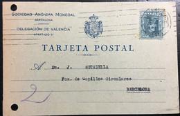 España 1927 Circulada Valencia    A   Barcelona. - Cartas