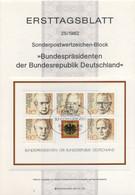 Allemagne 1982 - Michel Feuillet N. 18 - Présidents De La République Fédérale Allemande (Y & T Feuillet N. 17) - FDC: Feuilles