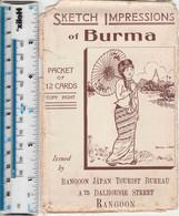 BURMA - SET OF TWELVE (12) POSTCARDS - ARTIST SKETCHES - Myanmar (Burma)