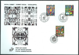 UN 1995 T019 - Social Summit 1995 - Triple FDC - Emisiones Comunes New York/Ginebra/Vienna