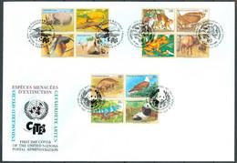 UN 1995 T020 - Endangered Species (III) CITES - Triple FDC - Emisiones Comunes New York/Ginebra/Vienna