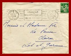 """LSC """" Français, N'écoutez Que La Voix De Vos Chefs """"  Flamme RBV De Paris XIII  Pour Clairac . 07/06/1940 - Guerra Del 1939-45"""