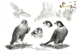 A.BUZIN   A4 SEPIA    FAUCON PELERIN  + TIM. METTET  30-06-2018 - 1985-.. Pájaros (Buzin)