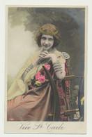 Carte Fantaisie - Femme Artiste Jouant De La Harpe Antique - Dorure - Sainte Cécile - Musique - Entertainers