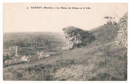 CPA : GAVRAY - Les Ruines Du Château Et La Ville - Dames Sous Ombrelle - Altri Comuni