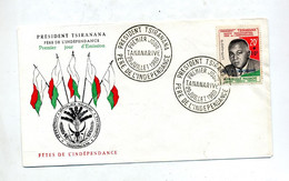 Lettre  Fdc 1960 President Tsiranana  Surchargé Fete Independance - Madagascar (1960-...)