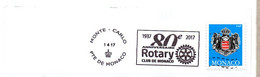 Flamme Monaco 80e Anniversaire Rotary Club De Monaco 1937 - 2017 - Postmarks