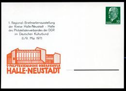 DDR PP9 D2/014 Privat-Postkarte SCHULGEBÄUDE Halle-Neustadt 1971  NGK 8,00 € - Postales Privados - Nuevos