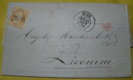 1873   BEAUTIFUL  LETTER  GO  FROM FRANCE TO LIVORNO /  BELLA  LETTERA  VIAGGIATA  DALLA  FRANCIA  PER  LIVORNO - 1870 Siège De Paris
