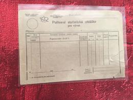 ✔️ČSR 1923, Tlačivo-poštovní Statistická Ohláška Pro Vývoz,svěží -☛Tchécoslovaquie,formulaire-annonce Statisque Coupure - Briefe U. Dokumente