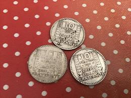 LOT DE 3 10 F ARGENT 1929-30-31 - K. 10 Francs
