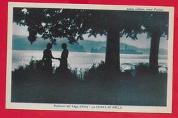 CARTOLINA NV ITALIA - Notturno Sul Lago D'Orta - La Punta Di Pella - 9 X 14 - Novara