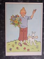 TINTIN Hergé - Salutations De TINTIN - Bouquet De Fleurs - Impression Casterman - Cpa Originale - Hergé