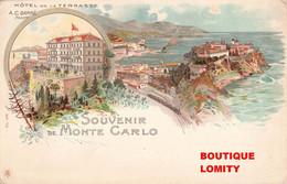 Monaco Souvenir De Monte Carlo Illustration Cpa Hotel De La Terrasse Propriétaire Garré - Monte-Carlo
