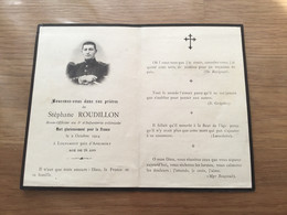 Carte De Décès D'un Soldat Du 5° Rgt D'infanterie Coloniale Tué En 1914 Dans L'Argonne 1914-18 - 1914-18