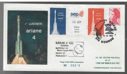 FDC Ariane (46) V22 Cachet Kourou - FDC