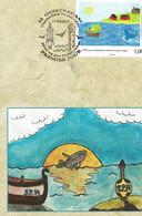 2010 - Regards Croisés St Pierre Et Miquelon Et Ouistreham - Tp N°977 - Dessins D'élèves De L'école Charcot Ouistreham - FDC